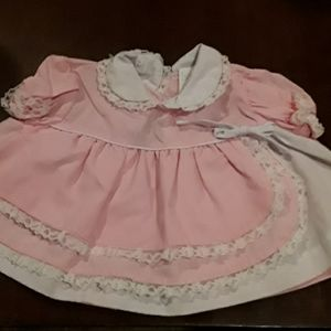 0--6 MONTHS.  BABYBUN PINK AND WHITE BABY DRESS.